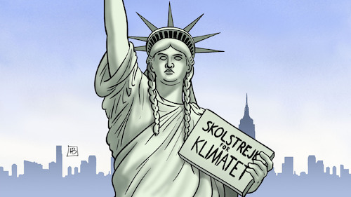 Cartoon: Thunberg in NY (medium) by Harm Bengen tagged greta,thunberg,ny,new,york,school,strike,climate,change,klimawandel,schulstreik,freiheitsstatue,liberty,usa,fridays,for,future,harm,bengen,cartoon,karikatur,greta,thunberg,ny,new,york,school,strike,climate,change,klimawandel,schulstreik,freiheitsstatue,liberty,usa,fridays,for,future,harm,bengen,cartoon,karikatur