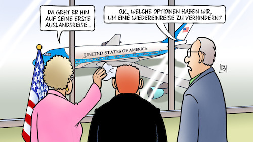 Cartoon: Trump-Auslandsreise (medium) by Harm Bengen tagged erste,auslandsreise,optionen,wiedereinreise,verhindern,präsident,trump,usa,air,force,one,flugzeug,harm,bengen,cartoon,karikatur,erste,auslandsreise,optionen,wiedereinreise,verhindern,präsident,trump,usa,air,force,one,flugzeug,harm,bengen,cartoon,karikatur