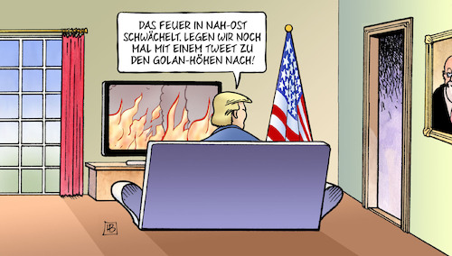 Cartoon: Trump und Golan (medium) by Harm Bengen tagged feuer,nah,ost,nachlegen,brandstifter,tweet,golan,höhen,trump,usa,israel,netanyahu,harm,bengen,cartoon,karikatur,feuer,nah,ost,nachlegen,brandstifter,tweet,golan,höhen,trump,usa,israel,netanyahu,harm,bengen,cartoon,karikatur