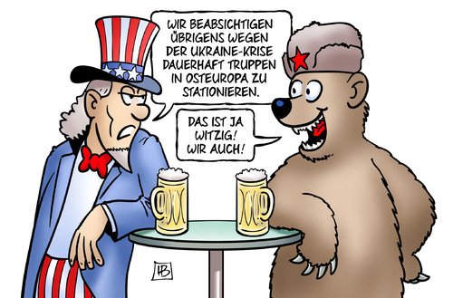 Cartoon: Truppen in Osteuropa (medium) by Harm Bengen tagged truppen,osteuropa,uncle,sam,bär,nato,teilung,referendum,wahl,sanktionen,armee,soldaten,umsturz,maidan,ukraine,eu,russland,putin,europa,usa,aufstand,putsch,krieg,revolte,kiew,harm,bengen,cartoon,karikatur,truppen,osteuropa,uncle,sam,bär,nato,teilung,referendum,wahl,sanktionen,armee,soldaten,umsturz,maidan,ukraine,eu,russland,putin,europa,usa,aufstand,putsch,krieg,revolte,kiew,harm,bengen,cartoon,karikatur