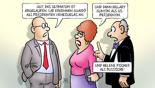 Cartoon: Ultimatum (medium) by Harm Bengen tagged ultimatum,abgelaufen,anerkennung,staatstreich,maduro,wahlen,guaido,präsident,venezuela,hillary,clinton,usa,präsidentin,helene,fischer,russland,harm,bengen,cartoon,karikatur,ultimatum,abgelaufen,anerkennung,staatstreich,maduro,wahlen,guaido,präsident,venezuela,hillary,clinton,usa,präsidentin,helene,fischer,russland,harm,bengen,cartoon,karikatur