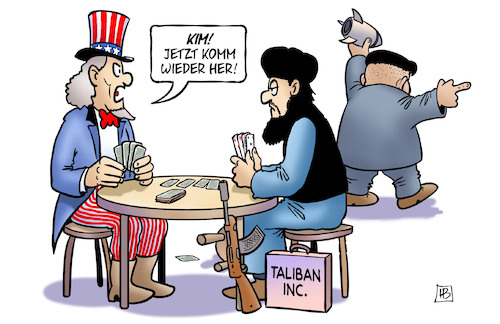 Cartoon: USA-Taliban-Nordkorea (medium) by Harm Bengen tagged usa,taliban,nordkorea,kim,jong,un,afghanistan,uncle,sam,pokern,raketen,verhandlungen,gespräche,harm,bengen,cartoon,karikatur,usa,taliban,nordkorea,kim,jong,un,afghanistan,uncle,sam,pokern,raketen,verhandlungen,gespräche,harm,bengen,cartoon,karikatur