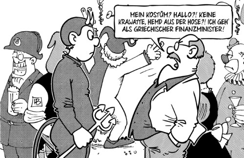 Cartoon: Varoufakis-Kostüm (medium) by Harm Bengen tagged rosenmontag,kostüm,krawatte,hemd,hose,griechischer,finanzminister,varoufakis,griechenland,wahl,karneval,fasching,harm,bengen,cartoon,karikatur