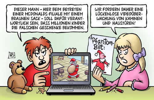Cartoon: Videoüberwachung (medium) by Harm Bengen tagged videoüberwachung,bombe,alarm,bombenalarm,bonn,mcdonalds,phantombild,fahndung,weihnachten,weihnachtsmann,laptop,kinder,geschenke,buntstifte,harm,bengen,cartoon,karikatur,videoüberwachung,bombe,alarm,bombenalarm,bonn,mcdonalds,phantombild,fahndung,weihnachten,weihnachtsmann,laptop,kinder,geschenke,buntstifte,harm,bengen,cartoon,karikatur