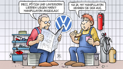 Cartoon: VW-Marktmanipulation (medium) by Harm Bengen tagged diess,pötsch,winterkorn,anklage,marktmanipulation,aktienkurs,vw,harm,bengen,cartoon,karikatur,diess,pötsch,winterkorn,anklage,marktmanipulation,aktienkurs,vw,harm,bengen,cartoon,karikatur