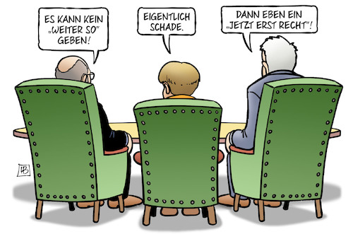 Cartoon: Weiter so (medium) by Harm Bengen tagged weiter,so,groko,sondierungen,schulz,merkel,seehofer,spd,cdu,csu,harm,bengen,cartoon,karikatur,weiter,so,groko,sondierungen,schulz,merkel,seehofer,spd,cdu,csu,harm,bengen,cartoon,karikatur