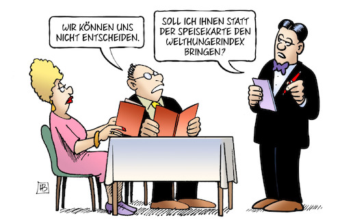 Cartoon: Welthungerindex (medium) by Harm Bengen tagged restaurtant,lokal,ober,kellner,gäste,speisekarte,welthungerindex,welthungerhilfe,harm,bengen,cartoon,karikatur,restaurtant,lokal,ober,kellner,gäste,speisekarte,welthungerindex,welthungerhilfe,harm,bengen,cartoon,karikatur
