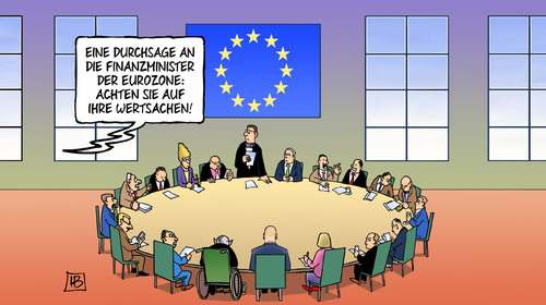 Cartoon: Wertsachen (medium) by Harm Bengen tagged durchsage,finanzminister,eurozone,wertsachen,schaeuble,varoufakis,europa,eu,griechenland,syriza,harm,bengen,cartoon,karikatur,durchsage,finanzminister,eurozone,wertsachen,schaeuble,varoufakis,europa,eu,griechenland,syriza,harm,bengen,cartoon,karikatur