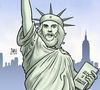 Cartoon: Kuba-USA (small) by Harm Bengen tagged kuba,usa,che,guevara,miss,liberty,freiheitsstatue,harm,bengen,cartoon,karikatur