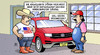 Cartoon: VW-Entschuldigung (small) by Harm Bengen tagged abgaswerte,bordcomputer,vw,usa,betrug,erschiessen,werkstatt,rückruf,kfz,auto,harm,bengen,cartoon,karikatur