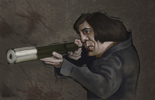 Cartoon: No Country For Old Men (medium) by jonesmac2006 tagged no,country,for,old,men,javier,bardem,caricature