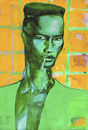 Cartoon: Grace Jones Portrait (small) by MontseCastellano tagged grace,jones,pop,art,green,yellow,watercolor