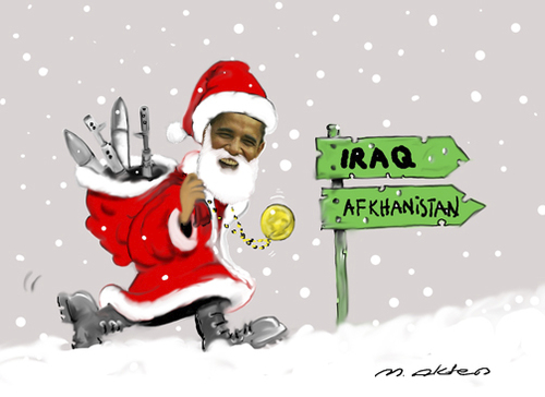 Cartoon: noel 2010 (medium) by muharrem akten tagged noel,2010,obama,barack,hosein,huseyin,prezidident,baskan,caricature,karikatur,humor,mizah,turkish,cartoonizt,cartoon,karikaturist,muharrem,akten,cizgi,art,sanat,cizer