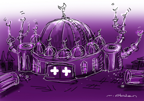 Cartoon: Switzerland minaret 1 (medium) by muharrem akten tagged switzerland,minaret,caricature,karikatur,mizah,humor,hiciv,cartoon,muharrem,akten,turkish,cartoonist