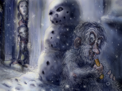 Cartoon: the hungry yeti (medium) by nootoon tagged yeti,nootoon,illustration,germany,winter,snowflakes,carrot