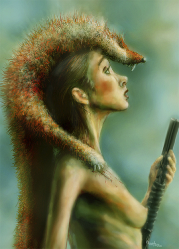 Cartoon: venus in furs (medium) by nootoon tagged fur,venus,pumpgun,girl,hunter,shot,nootoon,illustration,germany