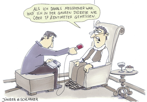 Cartoon: Messdiener (medium) by Jünger  Schlanker tagged messdiener,kirche,interview,schwanzlänge,penislänge