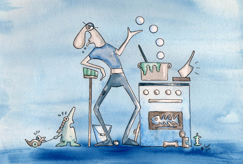 Cartoon: househusband (medium) by ninaboosart tagged haushalt,hausmann,kochen,putzen