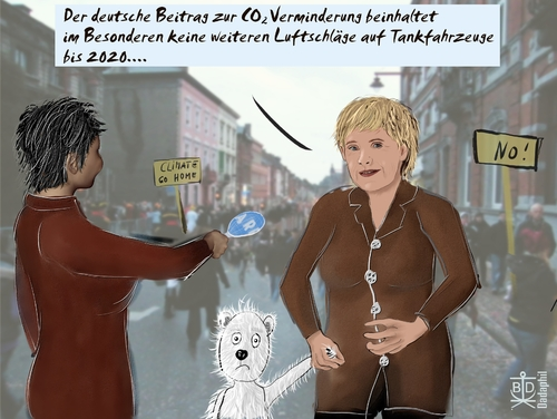 Cartoon: Klimagipfel II (medium) by Dadaphil tagged klimagipfel,climate,airstrike,luftschlag,kundus,polar,bear,eisbär,copenhagen,kopenhagen,merkel,interview