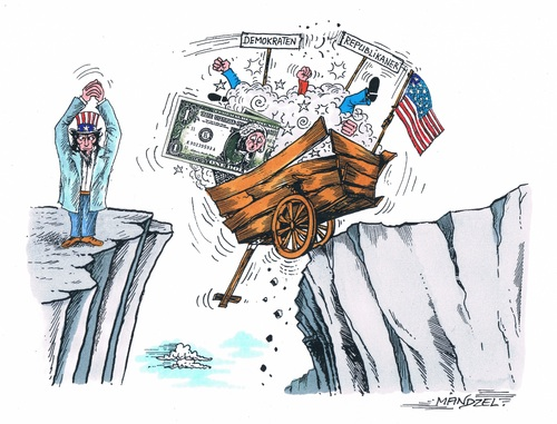 Cartoon: Finanzkrise in USA (medium) by mandzel tagged usa,finanzkiste,uncle,sam,abgrund,usa,finanzkiste,uncle,sam,abgrund