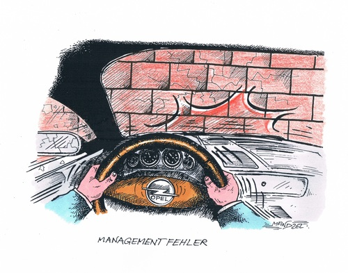 Cartoon: Managementfehler bei Opel (medium) by mandzel tagged opel,managementfehler,vor,die,wand,gesetzt,opel,managementfehler,vor,die,wand,gesetzt