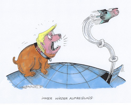 Cartoon: Trump kläfft wieder (medium) by mandzel tagged trump,kim,atombomben,usa,nordkorea,raketen,drohungen,trump,kim,atombomben,usa,nordkorea,raketen,drohungen