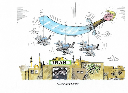 Cartoon: Unaufhörliches Säbelrasseln (medium) by mandzel tagged trump,usa,iran,ruhani,sanktionen,öl,atomvertrag,kriegsstimmung,trump,usa,iran,ruhani,sanktionen,öl,atomvertrag,kriegsstimmung