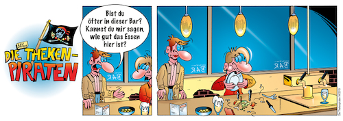 Cartoon: Die Thekenpiraten 94 (medium) by stefanbayer tagged bar,lounge,club,restaurant,essen,ernährung,gastronomie,speisekarte,bay,bayer,stefanbayer,theke,piraten,thekenpiraten,bier,wein,sekt,schnaps,geschmack,teller