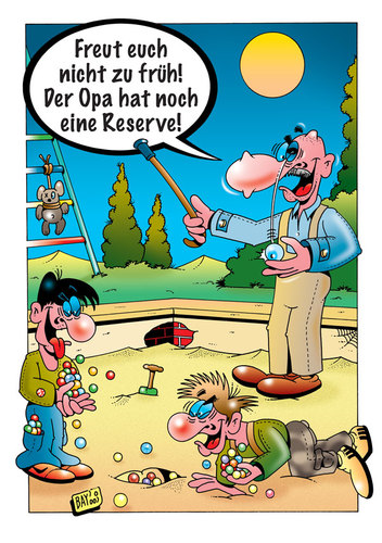 Cartoon: Opas Reserve (medium) by stefanbayer tagged opa,großvater,kinder,kids,wänste,murmeln,klickern,glasauge,auge,sand,sandkasten,spielen,freizeit,spaß,stefan,bayer,gier,gewinnen,reserve