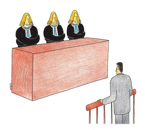 Cartoon: court -  straight jacket (medium) by cemkoc tagged ko,cem,karikatürleri,hukuk,cartoons,law,jacket,straight