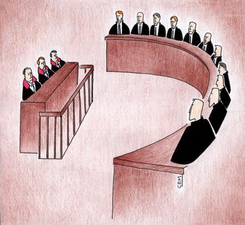Cartoon: European Court of Human Rights (medium) by cemkoc tagged judgement,judicial,judge,justice,ko,cem,karikatürleri,hukuk,cartoons,law,rights,human,of,court,european,tribunal,supreme,lex,jurisdiction,legal,gesetz,richter,adalet,hakim,mahkeme,robe,wig,defendant,prosecutor,koc,magistrate,judgesh