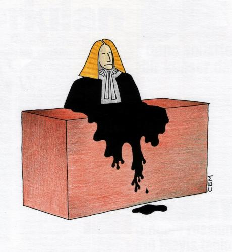 Cartoon: judge (medium) by cemkoc tagged tribunal,judgement,court,judicial,judge,justice,ko,cem,karikatürleri,hukuk,cartoons,law,supreme,lex,jurisdiction,legal,gesetz,richter,adalet,hakim,mahkeme,robe,wig,defendant,prosecutor,koc,magistrate,judgeship