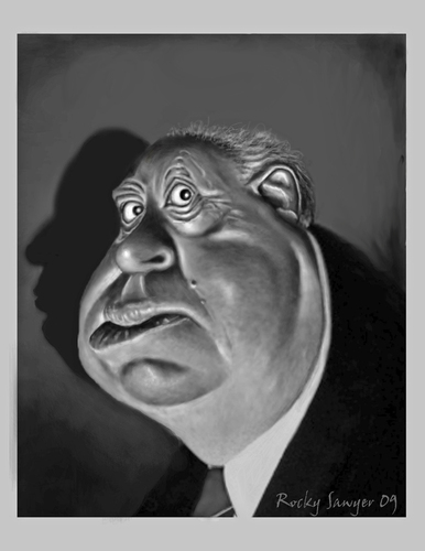 Cartoon: Alfred Hitchcock (medium) by rocksaw tagged caricature,alfred,hitchcock