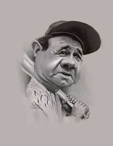 Cartoon: Babe Ruth (medium) by rocksaw tagged the,great,bambino,caliph,of,clout,sultan,swat,bam,jack,dunns,baby