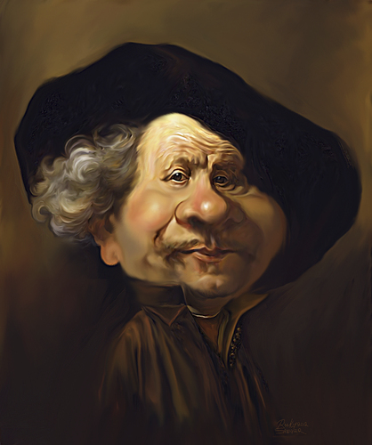 Cartoon: Rembrant (medium) by rocksaw tagged caricature,study,rembrant