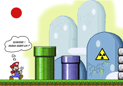 Cartoon: Freiwillige in Fukushima (medium) by cosmicomix tagged mario,bros,fukushima,atom,japan