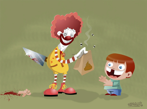 Cartoon: Happy meal (medium) by cosmicomix tagged evil,sadist,ronald,donald,mc,meal,happy,food,junk,clown