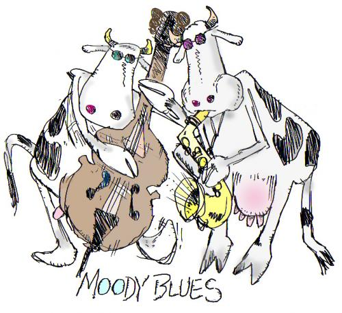 Cartoon: cows (medium) by barbeefish tagged music,