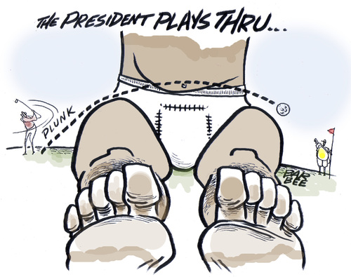 Cartoon: crises golf (medium) by barbeefish tagged obama