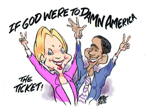 Cartoon: DAMNED (medium) by barbeefish tagged hill,and,obama