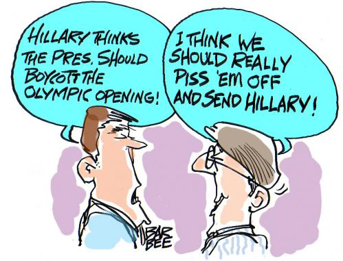 Cartoon: olympic games (medium) by barbeefish tagged hillary,