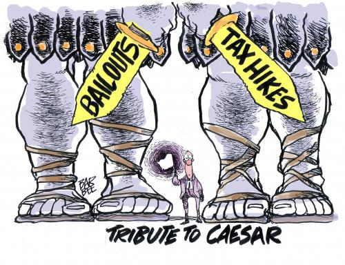 Cartoon: PAY TO CAESAR (medium) by barbeefish tagged budget