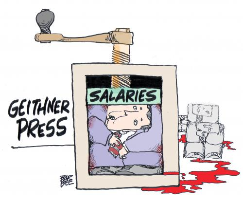 Cartoon: salary caps (medium) by barbeefish tagged tim,geithner