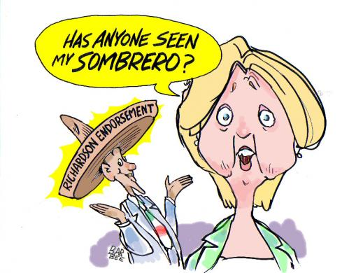 Cartoon: the MEX vote (medium) by barbeefish tagged hillary,
