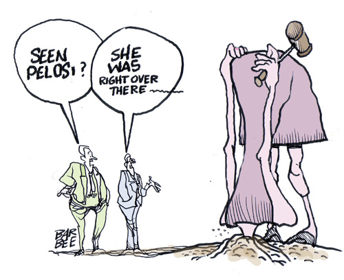 Cartoon: where to hide (medium) by barbeefish tagged pelosi