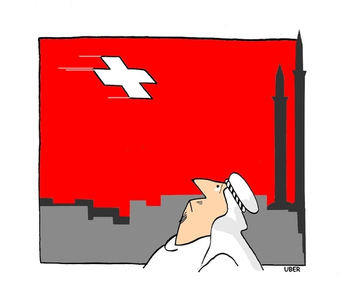 Cartoon: SYMBOLS (medium) by uber tagged minaret,minarett,minarets,swiss,schweiz,kultur,tradition,moschee,islam,immigration