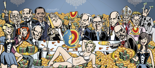 Cartoon: Let them eat cake! (medium) by ian david marsden tagged marsden,cartoon,depression,crash,boerse,stock,gold,money,obama,ows,street,wall,bailout,austerity,meltdown,financial,crisis,bankers,politicians,wall street,börse,banken,finanzkrise,wirtschaftskrise,wall,street