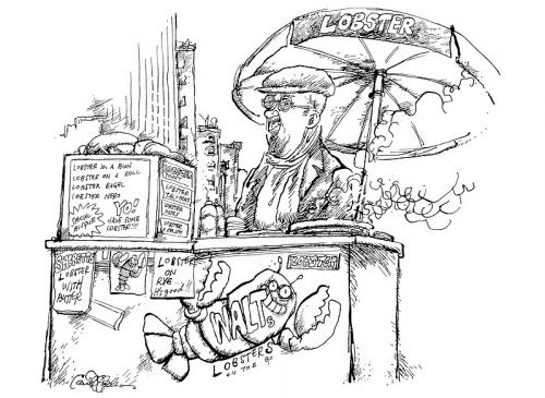 Cartoon: Lobster Vendor in Manhattan (medium) by ian david marsden tagged new,york,nyc,lobster,vendor,pen,and,ink,new,york,nyc,hummer