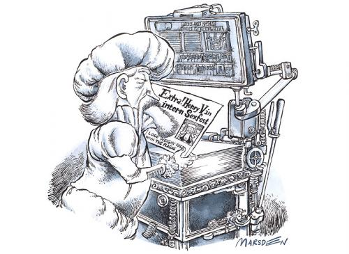 Cartoon: Tabloid Press (medium) by ian david marsden tagged gutemberg,printing,cartoon,marsden,gutenberg,zeitungsdruck,drucken,boulevardzeitung,presse