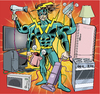 Cartoon: Energie Verschwender Man (small) by ian david marsden tagged super,hero,superhero,energy,household,wasting,strom,sparen,renewable,energies,comic,cartoon,bd,zeichner,illustrator,marsden